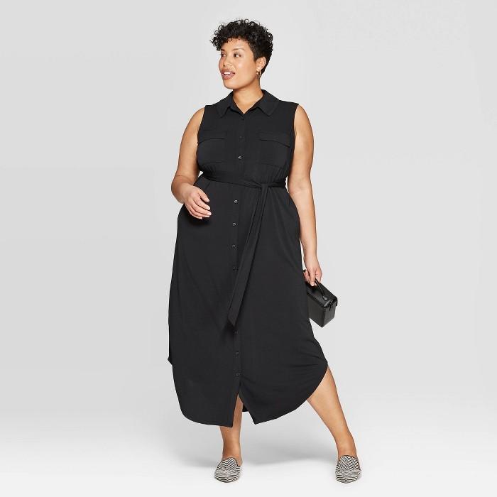 Women's Plus Size Knit Midi Shirtdress - Ava & Viv™ - image 1 of 3