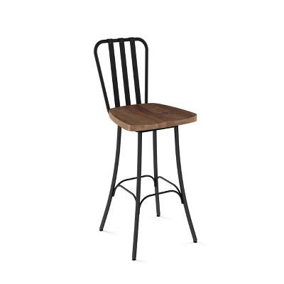 "30"" Bond Barstool with Wood Seat Medium Brown/Black Metal - Amisco"