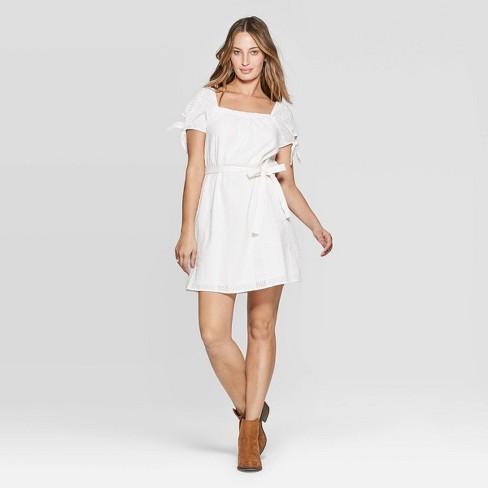 cea9ed2e931 Women s Tie Short Sleeve Square Neck Midi Eyelet Dress - Universal Thread™  White XS   Target