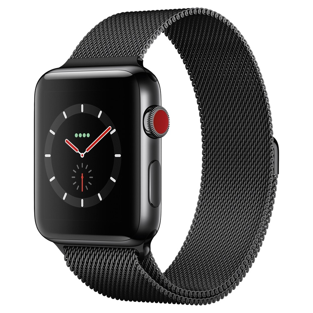 Apple Watch Series 3 42mm (GPS + Cellular) Stainless Steel Case Milanese Loop Band - Space Black, Gray