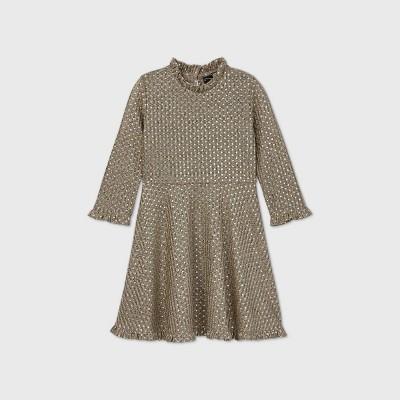 Girls' Ruffle Knit Long Sleeve Dress - art class™