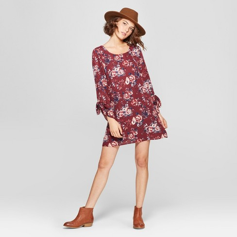 3efa2343dfce Women s Floral Print Tie 3 4 Sleeve Shift Dress - Lots of Love by  Speechless (Juniors ) Burgundy