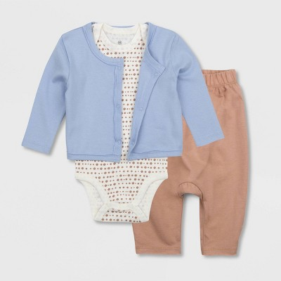 Honest Baby Boys' 3pc Organic Cotton Sugar Swizzle Bodysuit and Pants with Linear Dot Cardigan Set - Blue