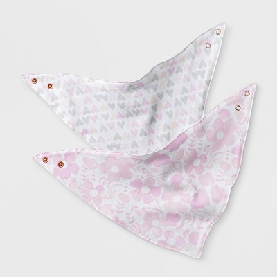 Baby Girls' 2pk Bandana Bib - Cloud Island™ Pink