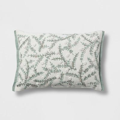 Botanical Lumbar Throw Pillow Cream/Mint - Threshold™
