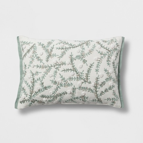Botanical Lumbar Throw Pillow Cream/Mint - Threshold™ - image 1 of 2