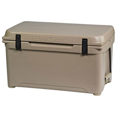 Engel High Performance 58-Quart Portable Seamless Rotomolded Airtight 70 Can Hard Cooler and Ice Box for Camping, Sports Events, and Fishing, Tan
