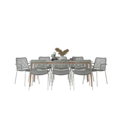 Seaford 9pc Patio Dining Set with Rectangular Table with Teak Finish - Amazonia