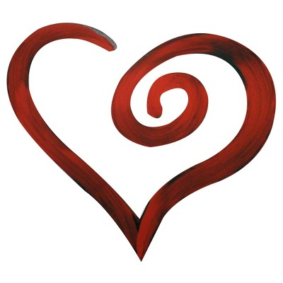 Swirl Heart  Hand Painted Dimensional Wall Words Red