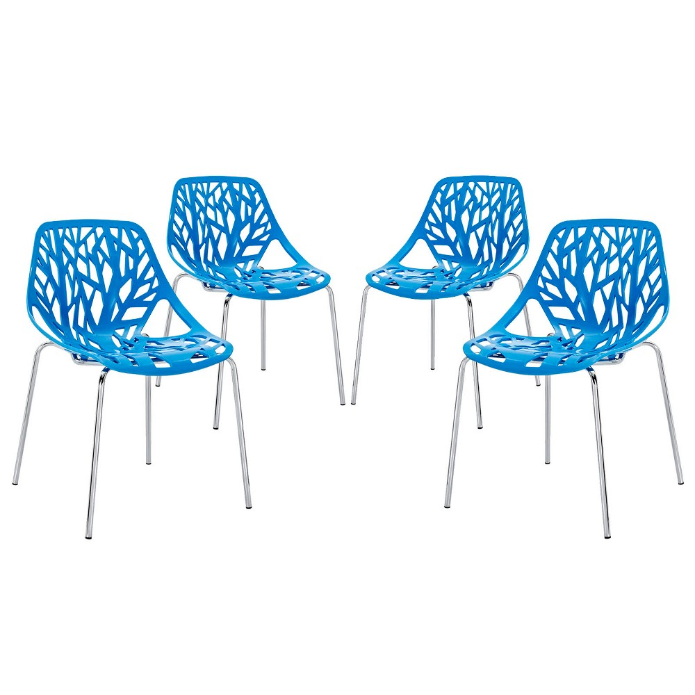Stencil Dining Side Chair Set of 4 Blue - Modway