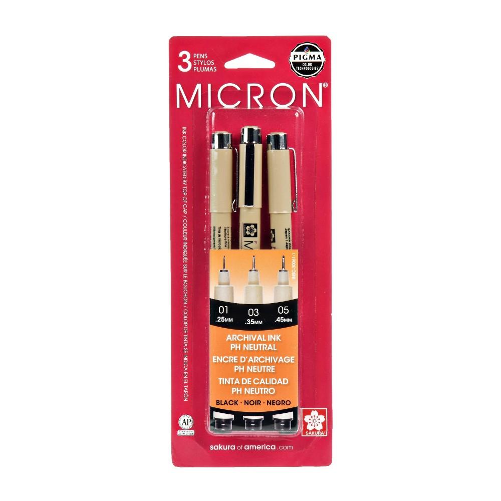 3pk Micron Archival Ink Multi Size Tip Pen Set Black