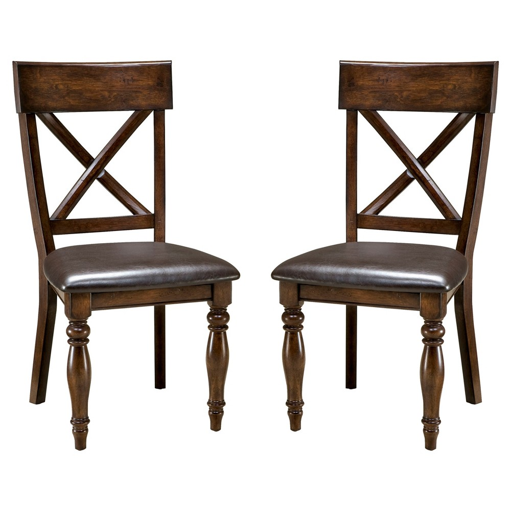 Image of Kingston X Back Side Chair with Faux Leather Seat Dark Raisin Finish (Set of 2) - Intercon, Brown