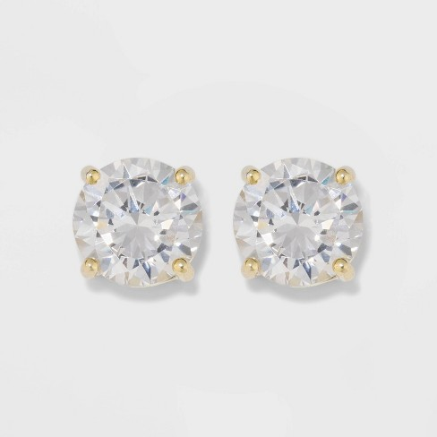 Gold Over Sterling Silver Round Cubic Zirconia Stud Fine Jewelry Earrings - A New Day™ Gold/Clear - image 1 of 3
