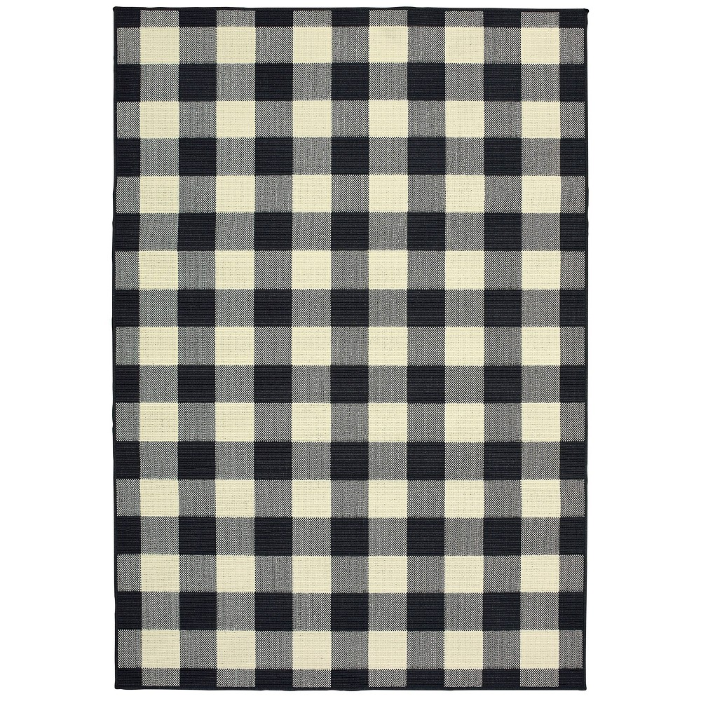 Madeline Plaid Check Rug Black/Ivory