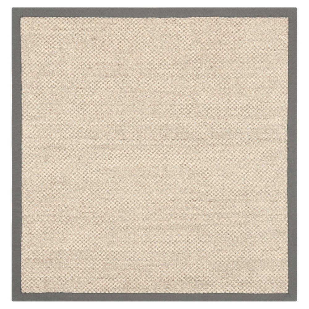 Solid Woven Square Area Rug Beige