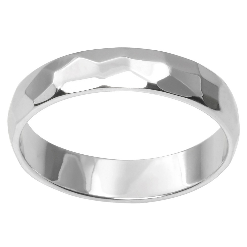 Women's Journee Collection Hammered Finish Band in Sterling Silver - Silver, 4
