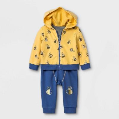 Baby 3pc Bee Top & Bottom Set - Cat & Jack™ Yellow Newborn