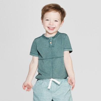 Genuine Kids® from OshKosh Toddler Boys' Short Sleeve Henley Shirt - Vintage Wash Green 12M