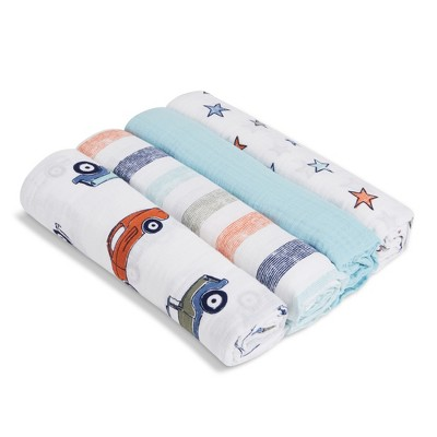 Aden by Aden + Anais Swaddles 4pk - Hit the Road - White