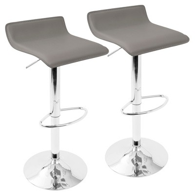 Set of 2 Ale Height Adjustable Barstool - Gray With Chrome Footrest - Lumisource