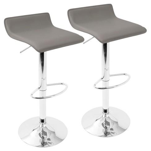 Sensational Ale Height Adjustable Barstool Set Of 2 Gray With Chrome Footrest Lumisource Uwap Interior Chair Design Uwaporg