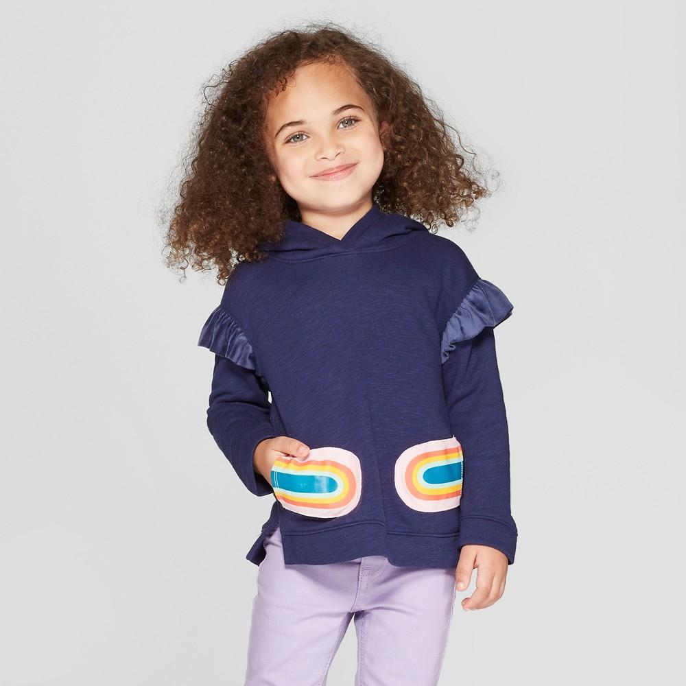 Toddler Girls' Hoodie Pullover Sweater - Cat & Jack Navy 18M, Blue