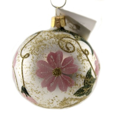"""Golden Bell Collection 3.25"""" White Ball With Pink Flowers Ornament Christmas Spring  -  Tree Ornaments"""