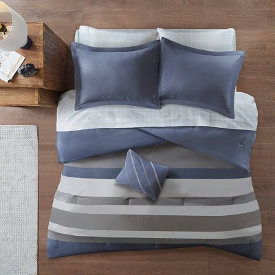 Eddie Queen 8pc Complete Bed Set, Including Sheets Blue/Gray