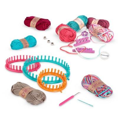 Craftabelle Circular Loom & Finger Knitting Set Cozy Cuffs & Cowls Creation Kit 20pc