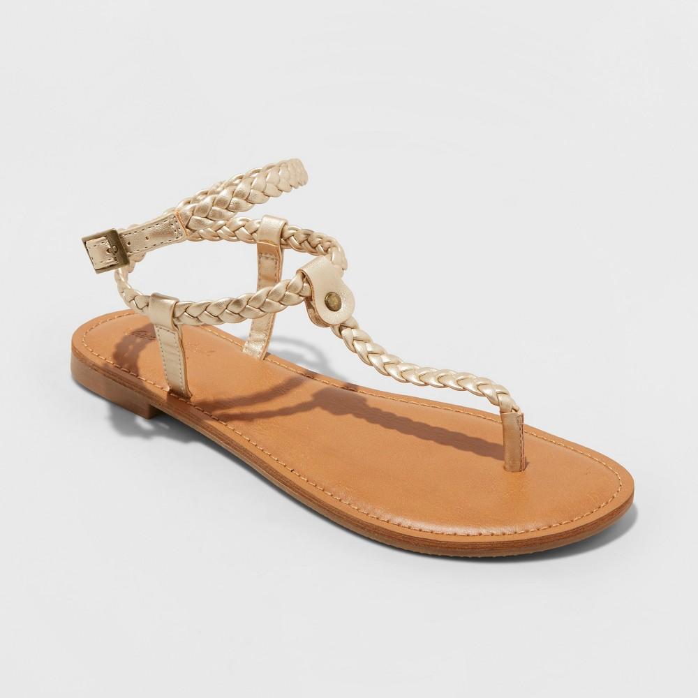 Women's Larissa Braided Ankle Wrap Sandal - Universal Thread Gold 9