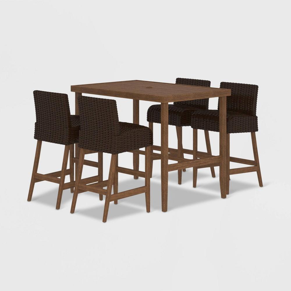 SmartWick 5pc Patio Bar Table & Stools Dining Set - Dark Brown - Cosco