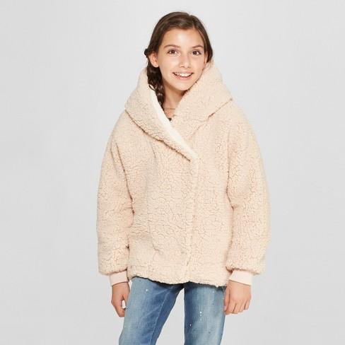 2d71bb7a5847 Girls  Hooded Sherpa Bomber Jacket - Cat   Jack™ Blush Peach   Target