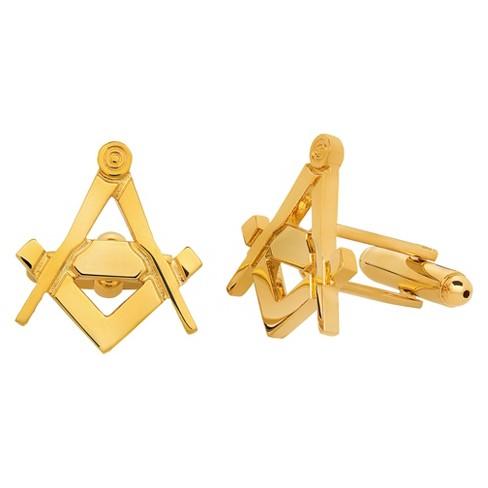 West Coast Jewelry Men's High Polished Masonic Cuff Links - Gold - image 1 of 2