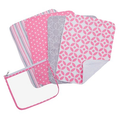 Trend Lab 5pc Burp Cloth & Pouch Gift Set - Lily