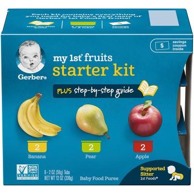Gerber My 1st Fruits Starter Kit Banana Pear Apple Baby Food Tubs - 6ct/2oz Each