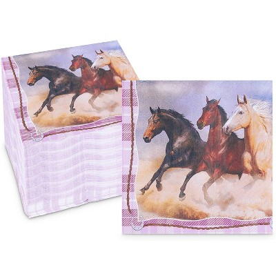 Sparkle and Bash 150 Pack Horse Disposable Paper Napkins for Animal Birthday Party 6.5 In