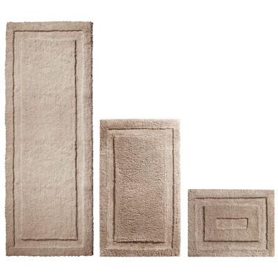 mDesign Soft Microfiber Polyester Bathroom Spa Mat Rugs/Runner, Set of 3 - Tan