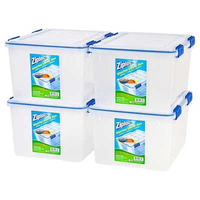 Ziploc 44qt Weather Shield Clear Storage Box - 4pk