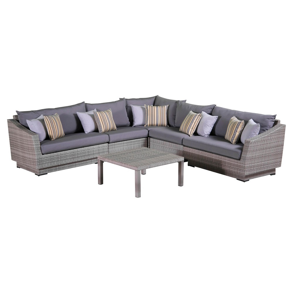 Rst Brands Cannes 6-piece Sectional and Table Set - Charcoal Grey