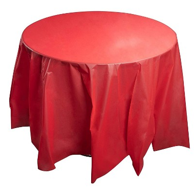Juvale 12-Pack Red 84-Inch Round Disposable Plastic Tablecloth Table Cover Party Supplies