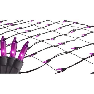 Northlight 2' x 8' Mini Tree Trunk Wrap Net Lights Purple - Brown Wire