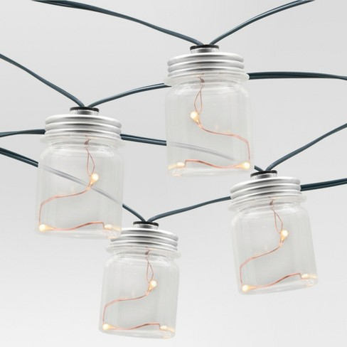 20ct Outdoor LED Plastic Mason Jar Cover Solar String Lights - Threshold™ - image 1 of 3