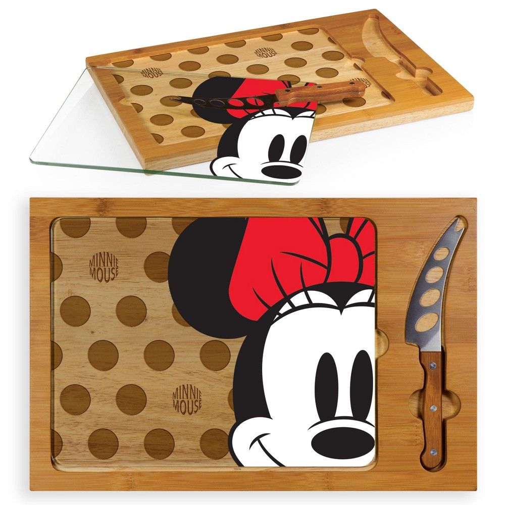 Image of Disney Minnie Mouse Icon Glass Top Wood Serving Tray with Knife Set by Picnic Time