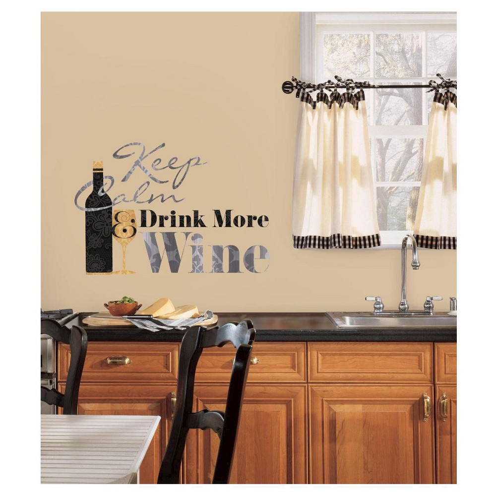 RoomMates Keep Calm & Drink Wine Quote Peel and Stick Wall Decals, Multi-Colored