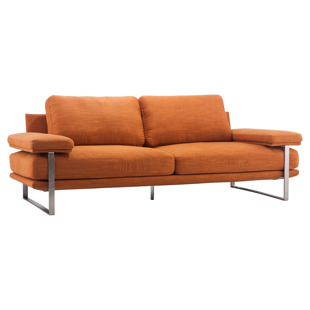 Mid-Century Modern Upholstered and Brushed Stainless Steel 86 Sofa - Orange - ZM Home