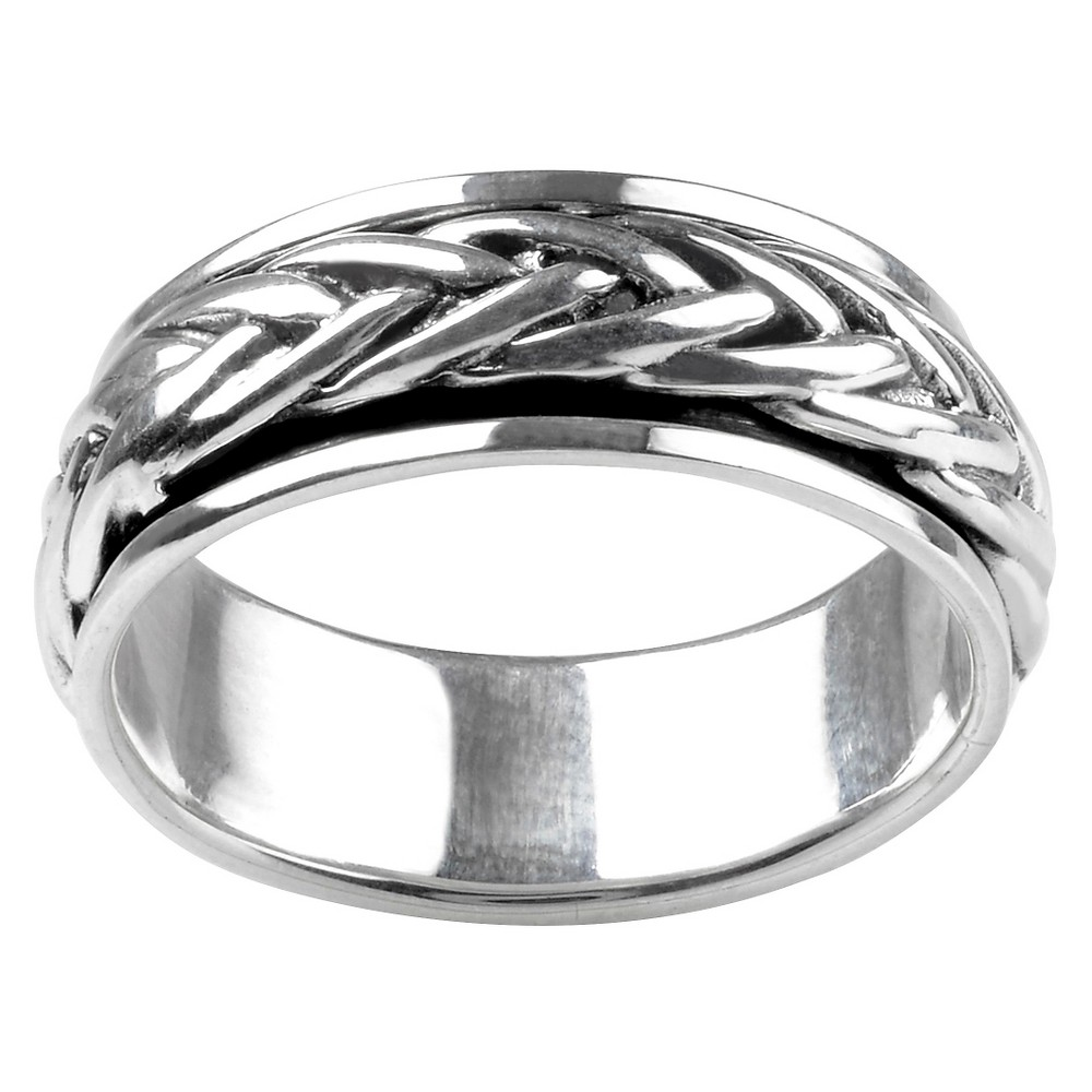 Men's Vance Co. Sterling Silver Braid Spinner Band - Silver, 10 (8 mm)