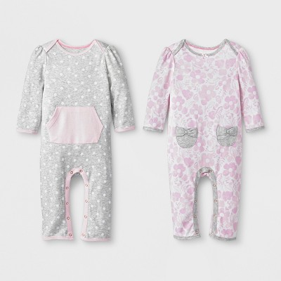 Baby Girls' 2pk Dot/Floral Rompers - Cloud Island™ Pink/Gray NB