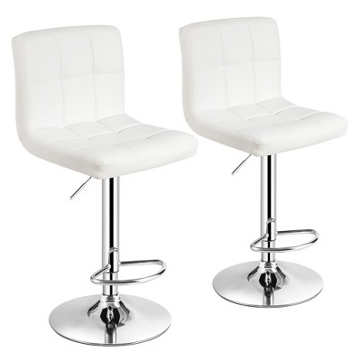 Costway Set of 2 Adjustable Bar Stools PU Leather Swivel Kitchen Counter Pub Chair White\Red\Brown\Black
