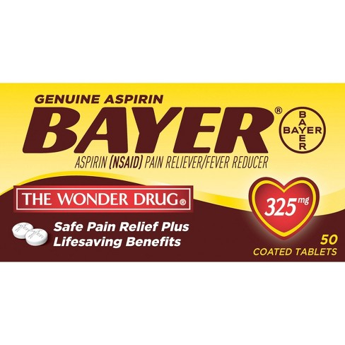 Bayer Genuine 325mg Pain Reliever & Fever Reducer Tablets - Aspirin (NSAID) - image 1 of 3