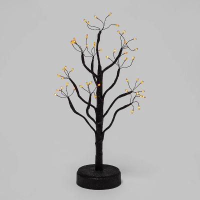 "18"" LED Black Glitter Twig Tree Halloween Decorative Prop - Hyde & EEK! Boutique™"